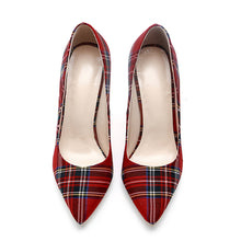 Load image into Gallery viewer, Trendy Plaid Pointed Toe Stilettos High Heels-fyzoeshoe