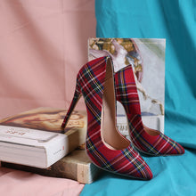 Load image into Gallery viewer, Trendy Plaid Pointed Toe Stilettos High Heels(Plus Size)