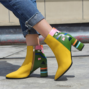 Handmade Genuine Leather Floral Print Ankle Booties