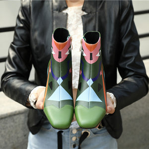Floral Print Handmade Genuine Leather Ankle Booties