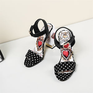 Fannie Red Heart Sandals with Pearl and Crystal Decoration