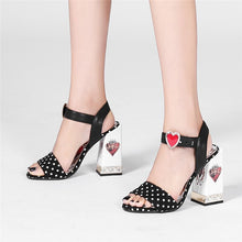 Load image into Gallery viewer, Fannie Red Heart Sandals with Pearl and Crystal Decoration