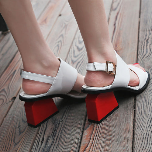Unique Gladiator Red Chunky Heel Sandles-fyzoeshoe