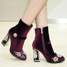 Load image into Gallery viewer, Novelty Handmade Velvet Ankle Booties with Rhinestone Floral Decoration-fyzoeshoe