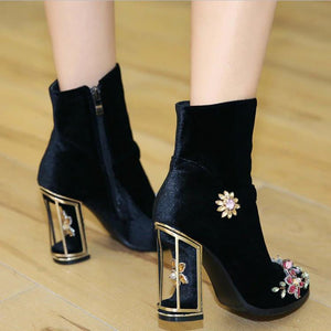 Novelty Handmade Velvet Ankle Booties with Rhinestone Floral Decoration-fyzoeshoe