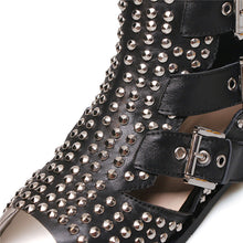 Load image into Gallery viewer, Handmade Rivet Studded Hollow out Boots