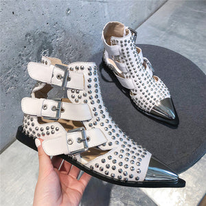 Handmade Rivet Studded Hollow out Boots
