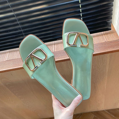 Aubrie Open Toe Slides Sandals Slippers