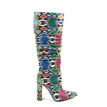 Load image into Gallery viewer, Ariel Snake Print Slouch Boots