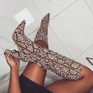 Ariel Snake Print Slouch Boots
