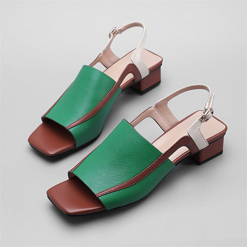 Handmade Square Toe Sling back Sandals