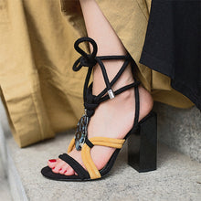 Load image into Gallery viewer, Nedra Strappy Chunky Heel Sandals