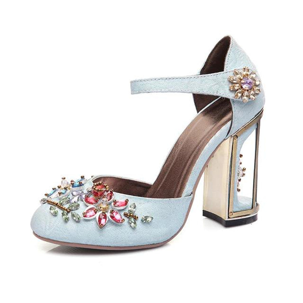 Vintage Handmade Mary Jane Pumps Heels with Rhinestone Decoration-fyzoeshoe