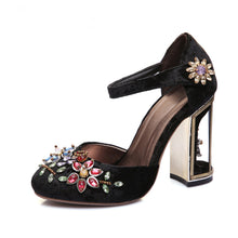 Load image into Gallery viewer, Vintage Handmade Mary Jane Pumps Heels with Rhinestone Decoration-fyzoeshoe