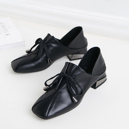 Monaako Vintage Square Toe Low Heel Pumps