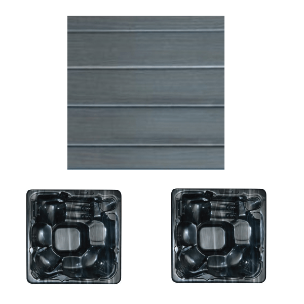 Wooden exterior panel grey with midnight opal interior
