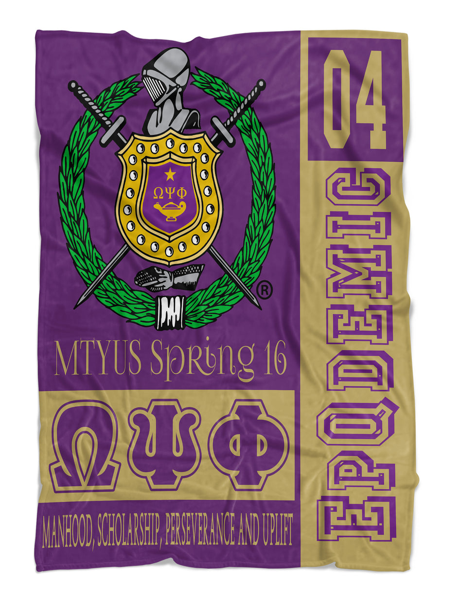 RQQ! HOME - Omega Psi Phi Fraternity Blanket - Purple and Gold - NEW DESIGN