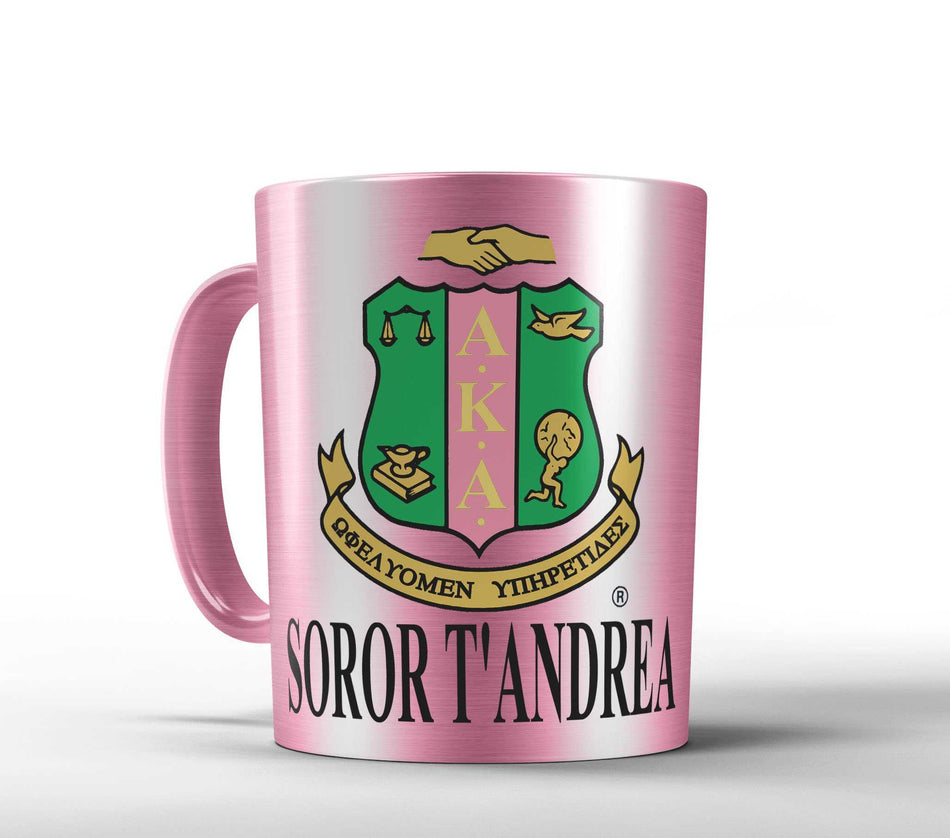 SKEE-WEE! OFFICE - AKA Personalized Alpha Kappa Alpha Sorority Mug - Pink, Silver or Gold