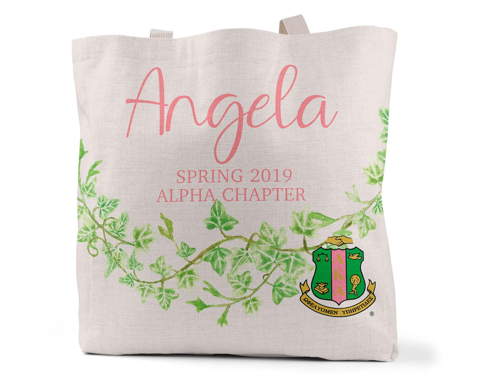 SKEE-WEE! Accessories - Alpha Kappa Alpha Personalized Simple Canvas Tote Bag
