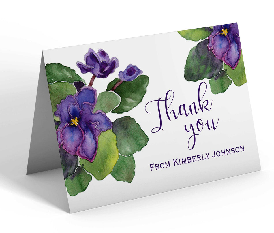 Delta Sigma Theta African Violets Thank You Cards - Blank Inside