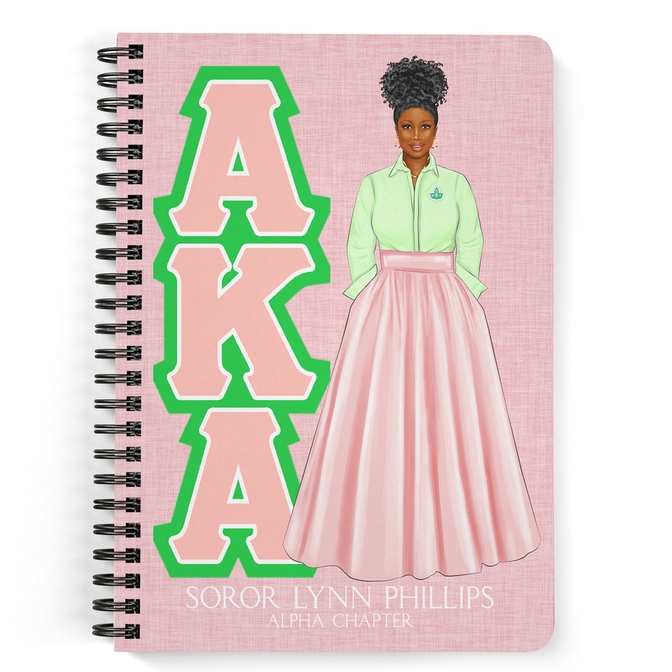 Alpha Kappa Alpha Salmon Pink and Apple Green Personalized Notebook