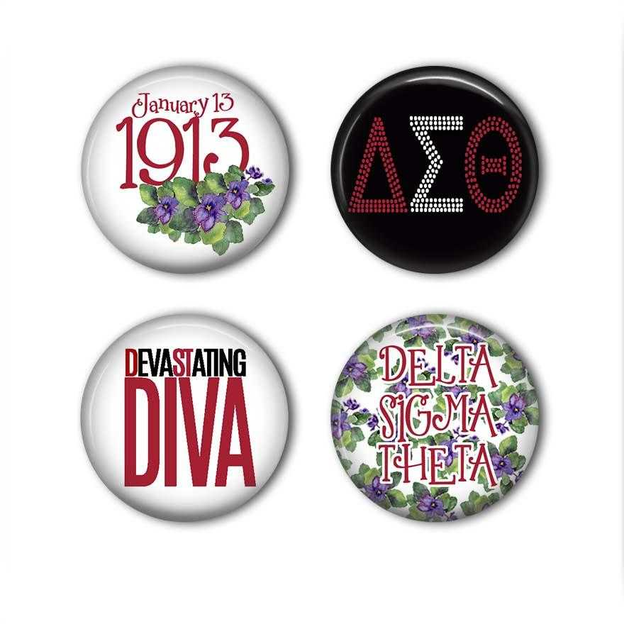 OO-OOP! ACCESSORIES - Delta Sigma Theta Pinback Buttons Set of 4 | Adorn Greek Gifts
