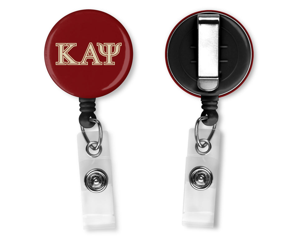 Crimson Kappa Alpha Psi Belt Clip Badge Reel