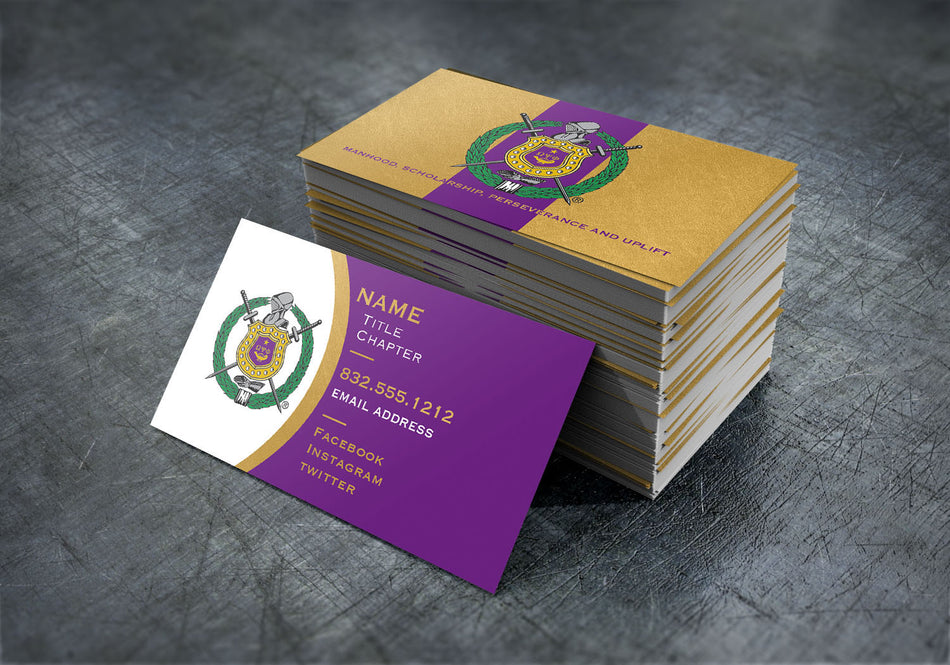 Omega Psi Phi Purple and Gold Contact Business Cards