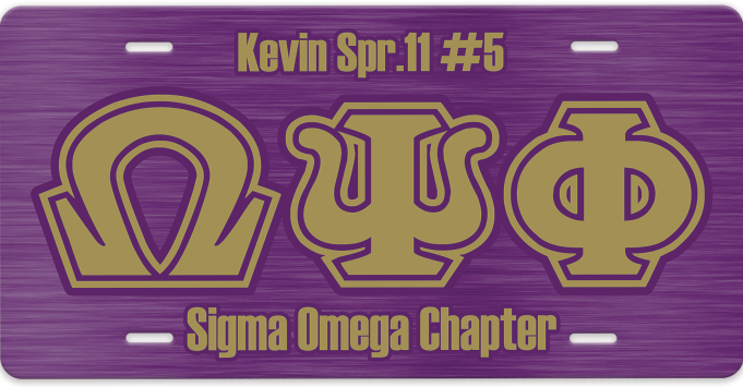 RQQ! Travel - Omega Psi Phi License Plate Car Tag - Greek Letters