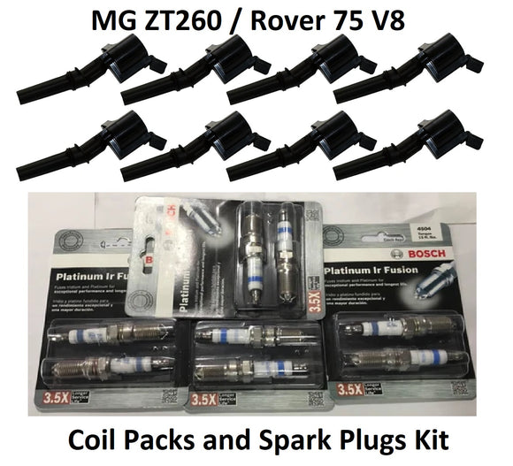 MG ZT260 V8 Coil Packs and Spark Plugs Kit - NEL000010 and NLP000120 (inc Rover 75 V8) - OEM-Q