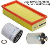 K Series Air Oil and Fuel Filter Service Kit - 200/400/25/45/ZR/ZS