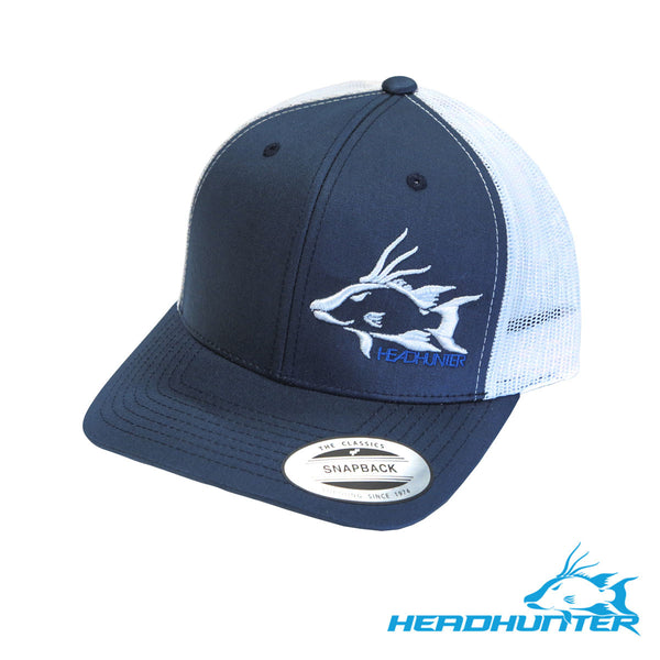 Headhunter Snapback Hat-Navy/White