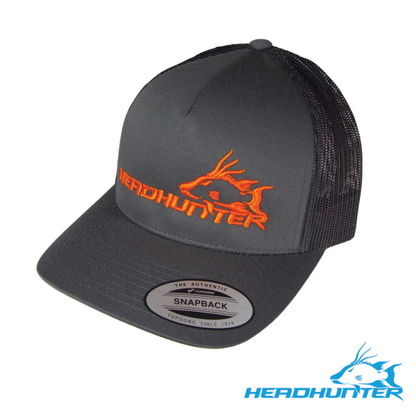 Headhunter Snapback Hat- Charcoal w/ Orange Logo