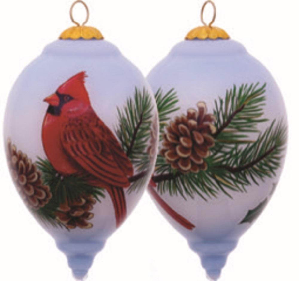 Cardinal On Pine Cone Hand Painted Christmas Ornament