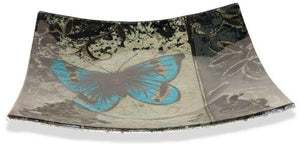 Angelstar Cozenza Collection Blue Butterfly Square Plate 6.5""