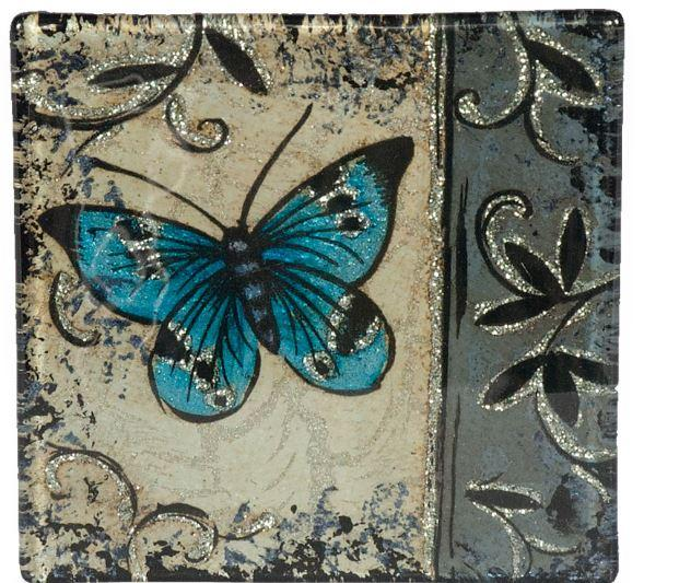 Angelstar Cozenza Collection Blue Butterfly Coaster Set-4