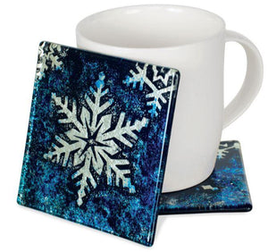 Angelstar Cozenza Collection Blue Snowflake Coaster Set-4""