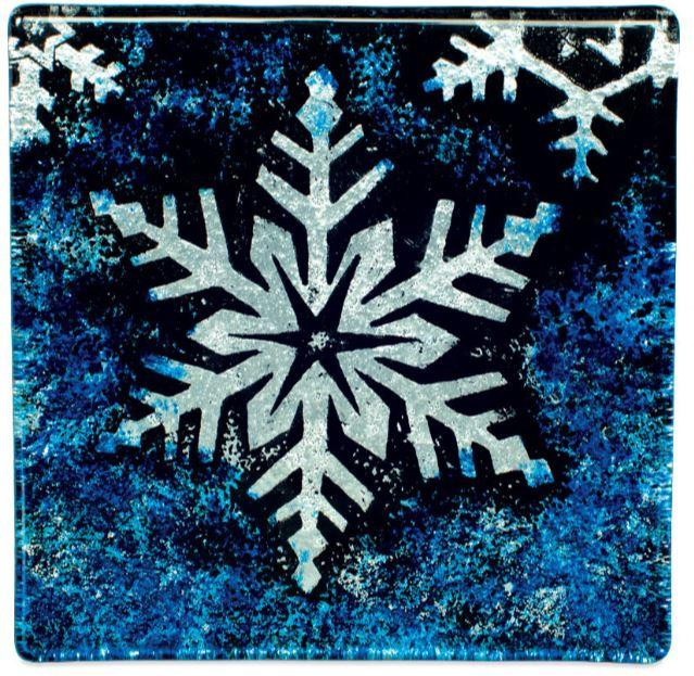 Angelstar Cozenza Collection Blue Snowflake Coaster Set-4