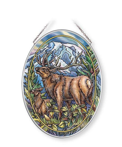 May Your Heart Be Noble Elk Medium Oval Sun Catcher