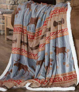Carstens Moose Tracks Fleece Throw Blanket