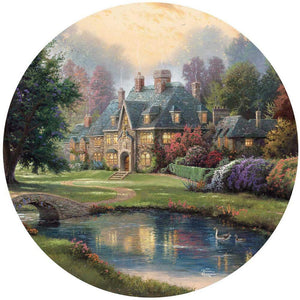 500 Piece Round Thomas Kinkade Puzzle- Lakeside Manor