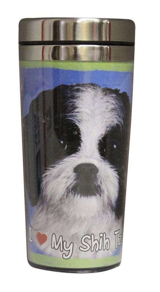 Black & White Shih Tzu Thermos Travel Tumbler Mug