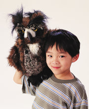 Load image into Gallery viewer, Folkmanis Great Horned Owl Hand Puppet