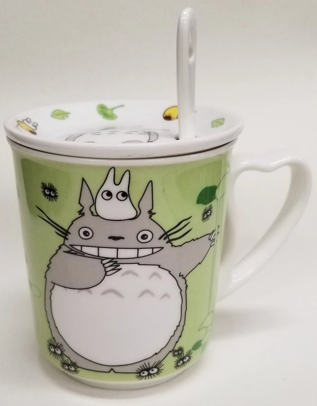 Totoro Ceramic Mug with top and spoon