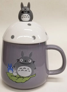 Totoro Ceramic Mug with Mushroom Top and Spoon