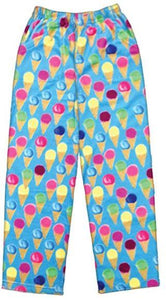 iscream Big Girls' Fun Print Plush Pants - 'Watercolor Cones' XL