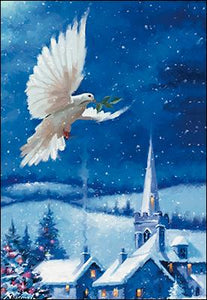 Dove with Church Boxed Christmas Cards #74610