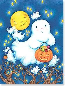 Little Ghost Halloween 8 note cards and envelopes - Freedom Day Sales