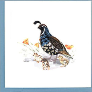 Quilling Card Quail and Chicks Greeting Card
