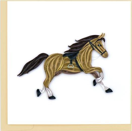 Quilling Card Galloping Horse Greeting Card